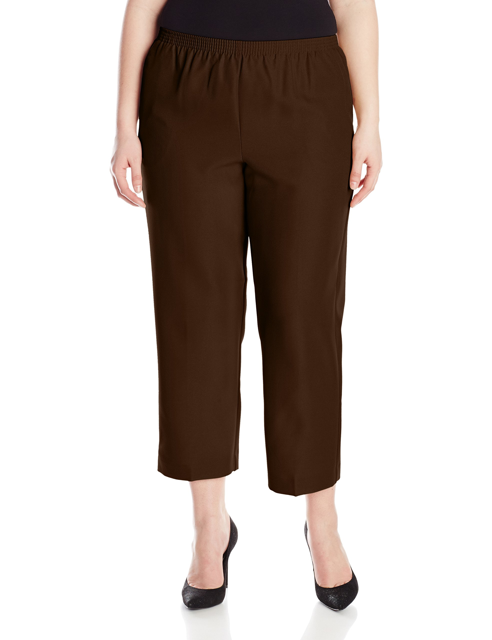Alfred Dunner Womens Plus Short Pant, Brown, 16W