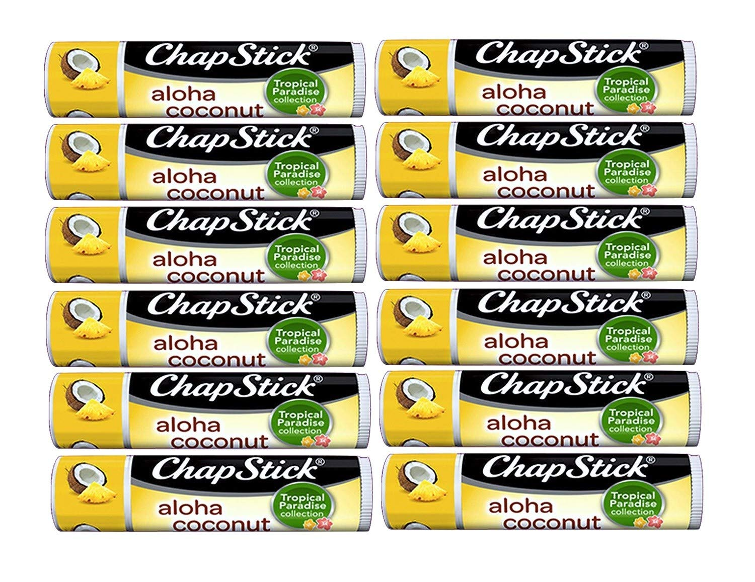 Chapstick Limited Edition Tropical Paradise Collection Aloha Coconut Flavored Skin Protectant Lip Balm Tube - Great for Moisturizing & Hydrating Chapped, Cracked, Dry Lips - 0.15oz Each, 12 Sticks