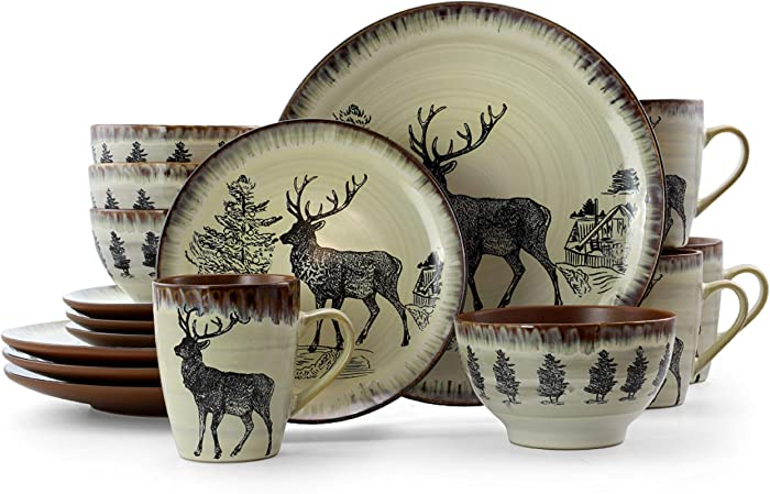 Elama Majestic Round Stoneware Cabin Dinnerware Dish Set, 16 Piece, Elk Design with Warm Taupe and Brown Accents