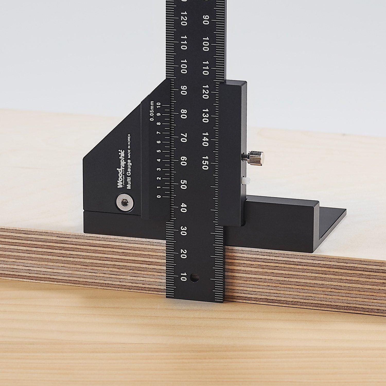 Woodraphic Doppelfunktions-Messschieber zum Messen und Markieren von Mittel Schwarz