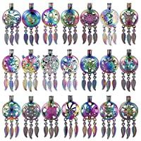 Mixed Pearl Cage Locket Pendants Set, Essential Oil Diffuser DIY Necklace Bracelet Jewelry Making Craft, Bulk Beads Aromatherapy Diffuser Charms Gifts for Women Girls (Random 15pcs Dreamcatcher)