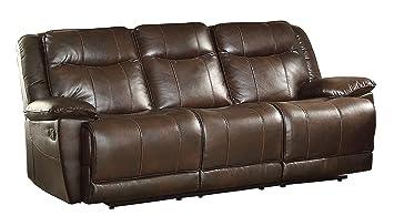 Amazon.com: Homelegance Triple Reclining Sofa In Dark Brown Leather Gel  Match: Kitchen U0026 Dining