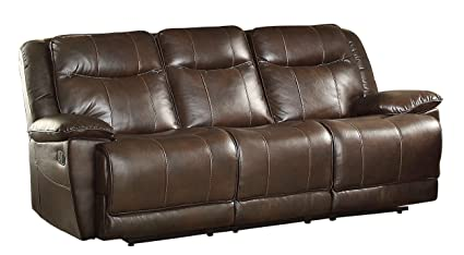 Attractive Homelegance Triple Reclining Sofa In Dark Brown Leather Gel Match