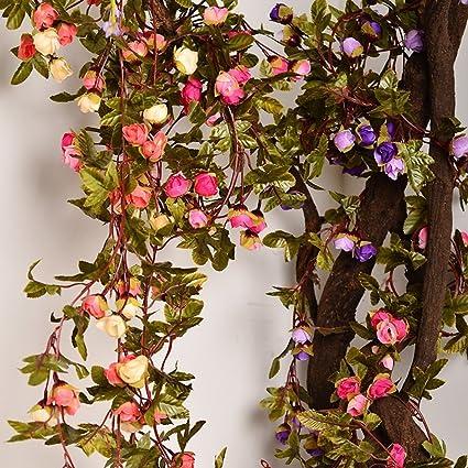 Amazon artificial rose garland silk flower vine for valentine artificial rose garland silk flower vine for valentine home wedding garden decoration mightylinksfo