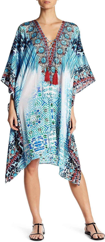 by GOGA Swimwear La Moda Clothing Multi Colored Sheer V-Neck Kaftan Cover Up