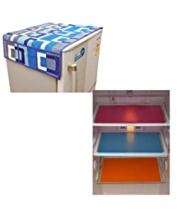 Unique Productions Combo Refrigerator Cover (Blue) & 3 Fridge Mat (12 X 17 Inches) : Set of 4 Pieces