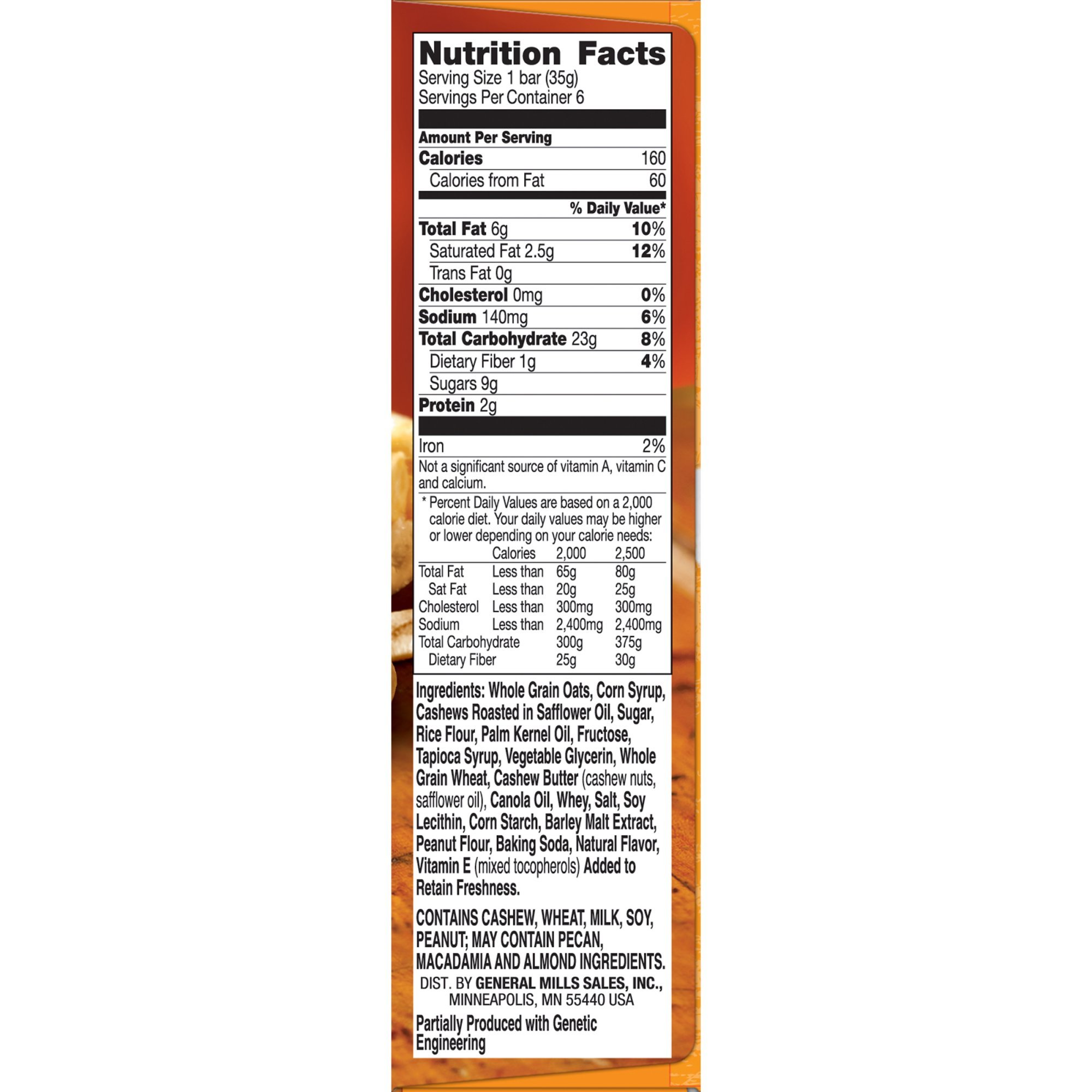 Nature Valley Granola Bars, Sweet and Salty Nut, Cashew, 6 Bars - 1.2 oz (Pack of 2)