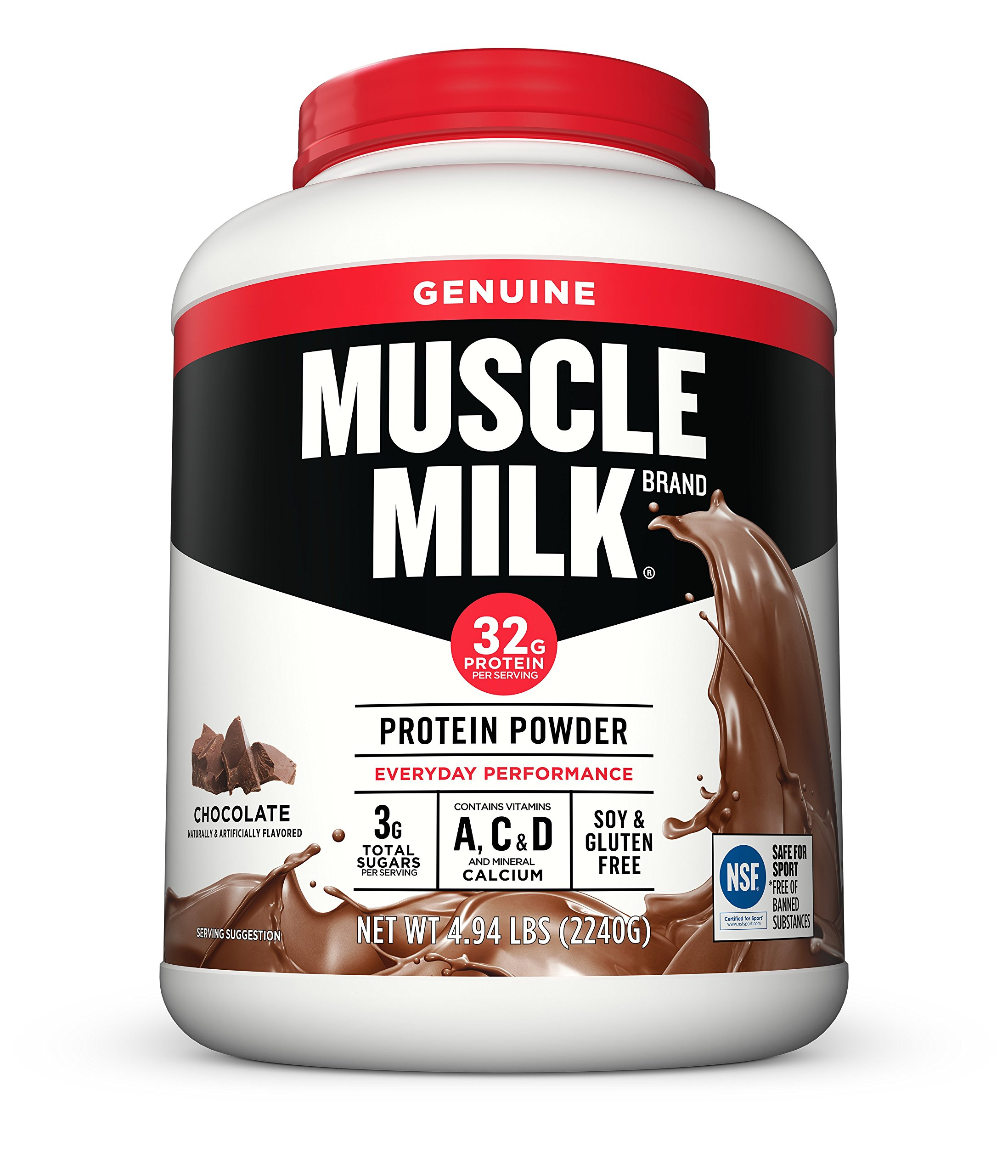 Muscle Milk Genuine Protein Powder, Chocolate, 32g Protein, 4.94 Pound by CytoSport