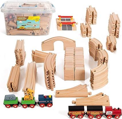 100 Piece Wooden Train Set