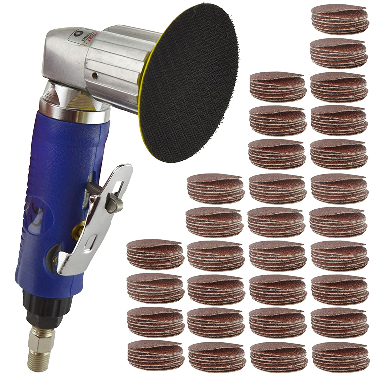 2' Air Angle Sander Grinder Polisher And 300 Pack 40 120 240 Grit Hook/Loop Pads AB Tools
