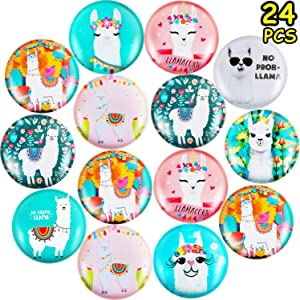 24 Pieces Llama Glass Refrigerator Magnets Cute Alpaca Fridge Magnets for Office Home Whiteboards Locker Photo Decoration, 1.2 Inches