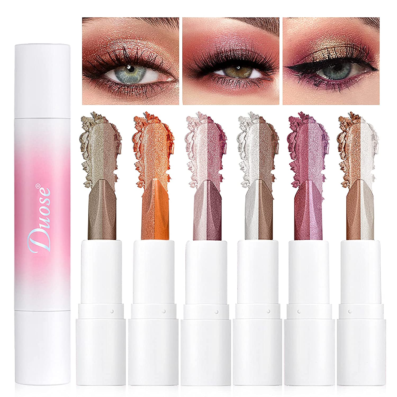 NewBang 3Pcs Eyeshadow Stick,Double Colors Gradient Shimmer Eyeshadow Stick,Neutral and Brown Cream Eyeshadow,Waterproof Longlasting Eyeshadow Stick Set