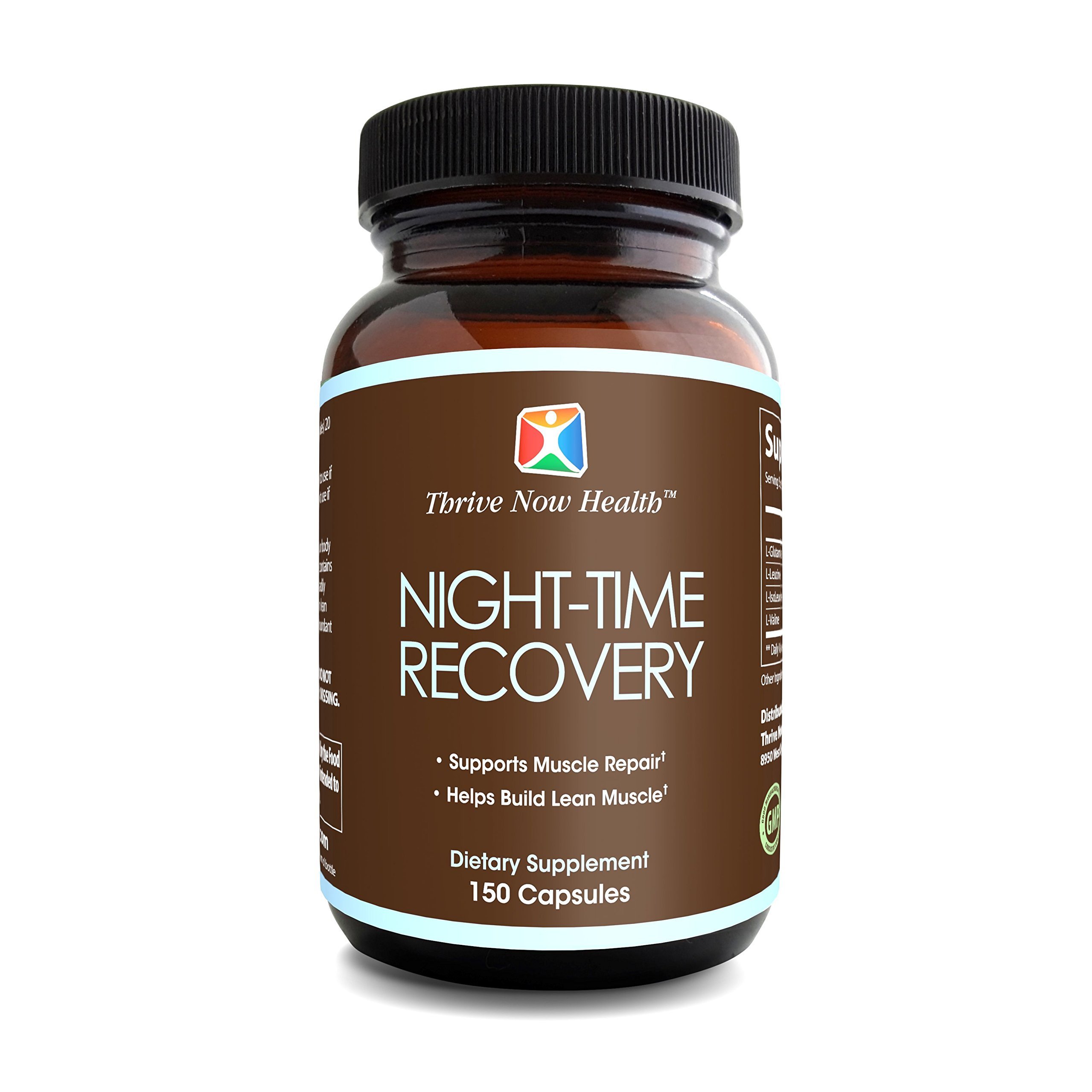 Thrive Now Health Night-Time Recovery (150 Capsules) Post Workout Supplement | Muscle Builder w/ BCAAs, L-Glutamine | Supports Lean Mass, Advanced Growth, Stamina