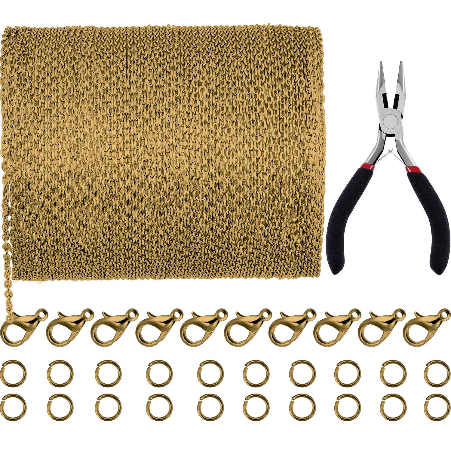 Jovitec 39.4 Feet 2 mm Link Chain Necklace Jewelry Plier with 30 Pieces Lobster Clasps and 100 Pieces Jump Rings for Jewelry Accessories DIY (Bronze)