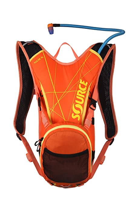 Source Outdoor Pulse 3L Hydration System Pack with 1L Cargo Pouch, Orange/Yellow