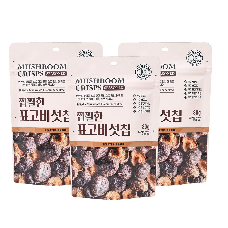 KOKO FARM Mushroom Crisps Snack, 1.05 Ounce Bag (Pack of 3), Shiitake Mushroom, Vacuum Cooked, Crunchy, Seasoned, No MSG, No Preservatives, No Trans Fat, Cholesterol-Free, Plant-Based, Superfood Snack