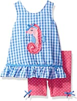 Nannette Baby Girls' 2 Piece Woven Top With Applique and Bike Short Set