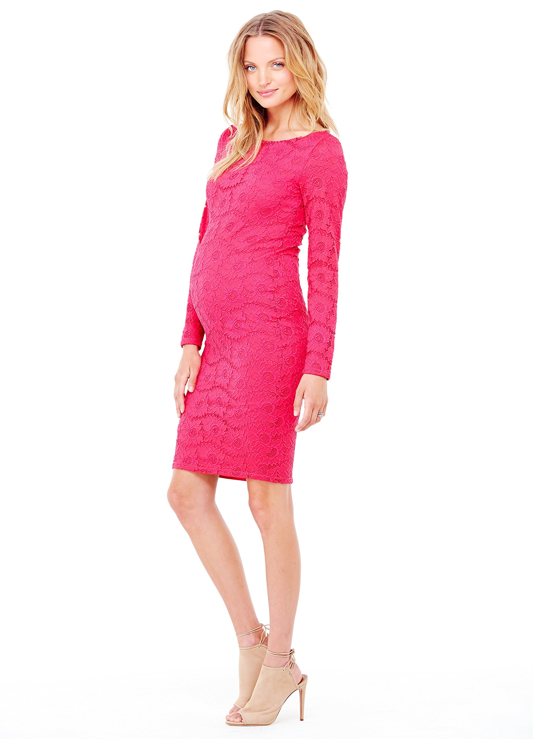 Ingrid & Isabel Women's Maternity Boat Neck Lace Dress, Berry, X-Small