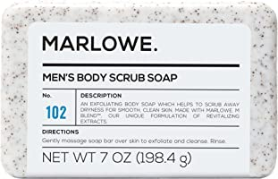 MARLOWE. No. 102 Men's Body Scrub Soap 7 oz | Best Exfoliating Bar for Men | Made with Natural Ingredients | Green Tea...