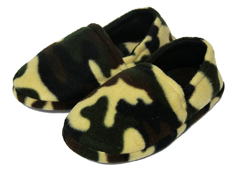 Onmygogo Boys Camouflage Fleece Indoor Slippers Green
