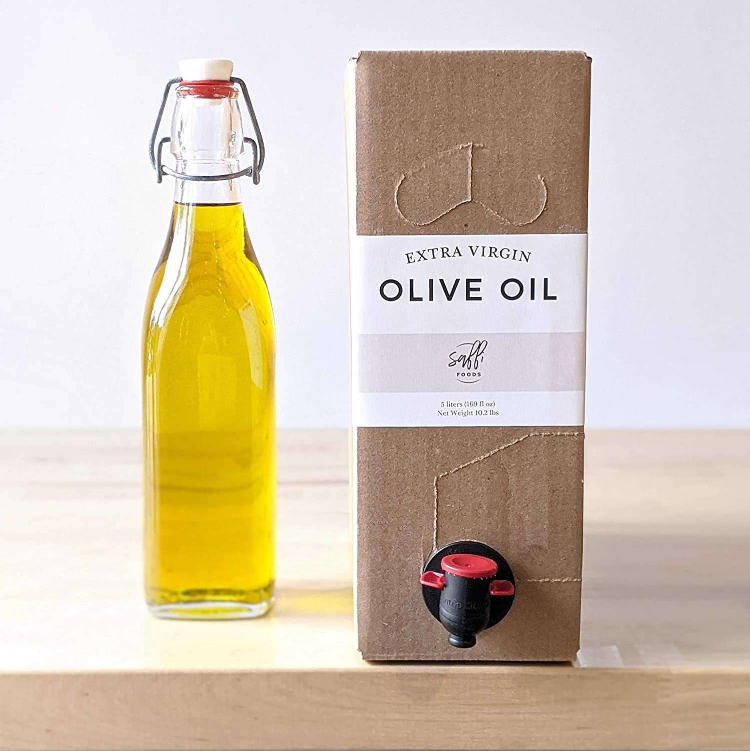 First Cold Pressed Extra Virgin Olive Oil by Saffi Foods, Unrefined, Full-Bodied Flavor, Perfect for Salad Dressings, Marinades, Naturally Gluten Free, Non-GMO, Bulk Eco Friendly, 5 liter Bag In Box