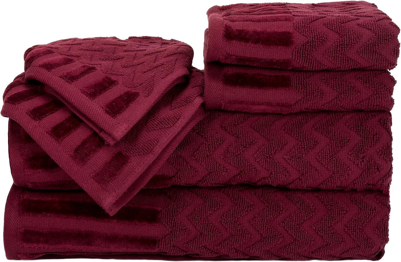 Lavish Home 6-Piece Cotton Deluxe Plush Bath Towel Set – Chevron Pattern Plush Sculpted Spa Luxury Decorative Body, Hand and Face Towels (Burgundy)