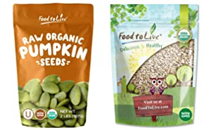 Organic Seed Kernels Bundle - Organic Pepitas/Pumpkin Seeds, 2 Pounds and Organic Sunflower Seeds, 2 Pounds - Non-GMO, Kosher, Raw, Vegan, No Shell