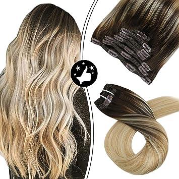 Image of Moresoo 20Pulgadas/50cm Extensiones Clip Naturales de Cabello con Clip Balayage Color Marron con Rubia #2/27/613 Remy Pelo Humano Natural Extensiones de Cabello Clip 7pcs 100G