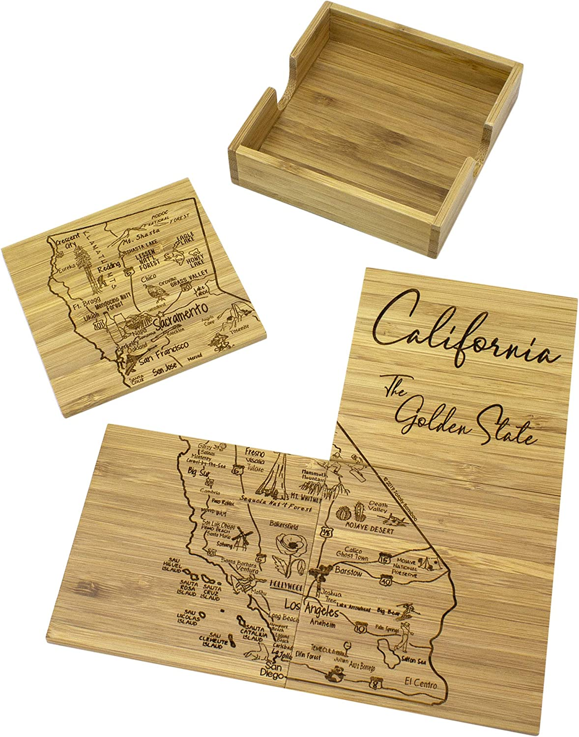 Totally Bamboo California State Puzzle 4 Piece Bamboo Coaster Set with Case