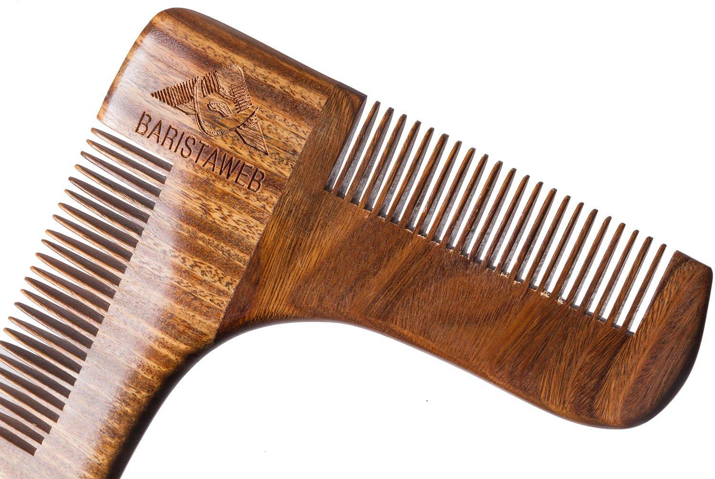 ✮ Peigne Contours & Lignes de Barbe - Baristaweb ✮ Qualité Prémium en Bois - Sac OFFERT - Pour hommes modernes & tendances voulant entretenir et donner du style à leur barbe !
