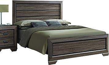 Amazon Com Acme Furniture 26017ek Lyndon Bed Eastern King Weathered Gray Grain Furniture Decor