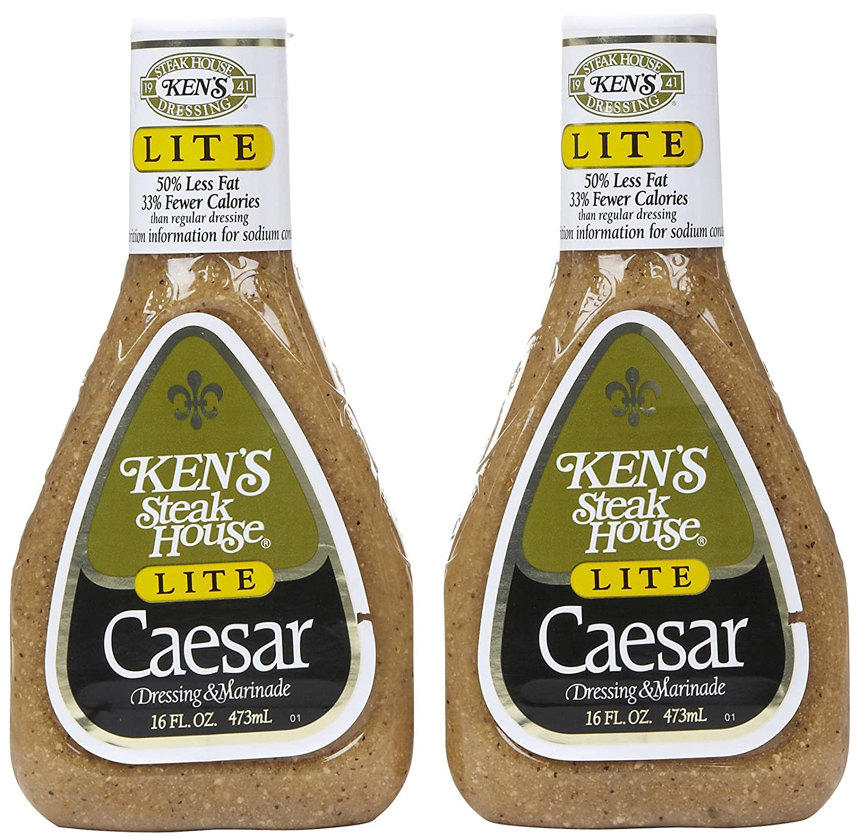 Kens Steak House, Caesar Salad Dressing, 50% Less Fat, 16oz