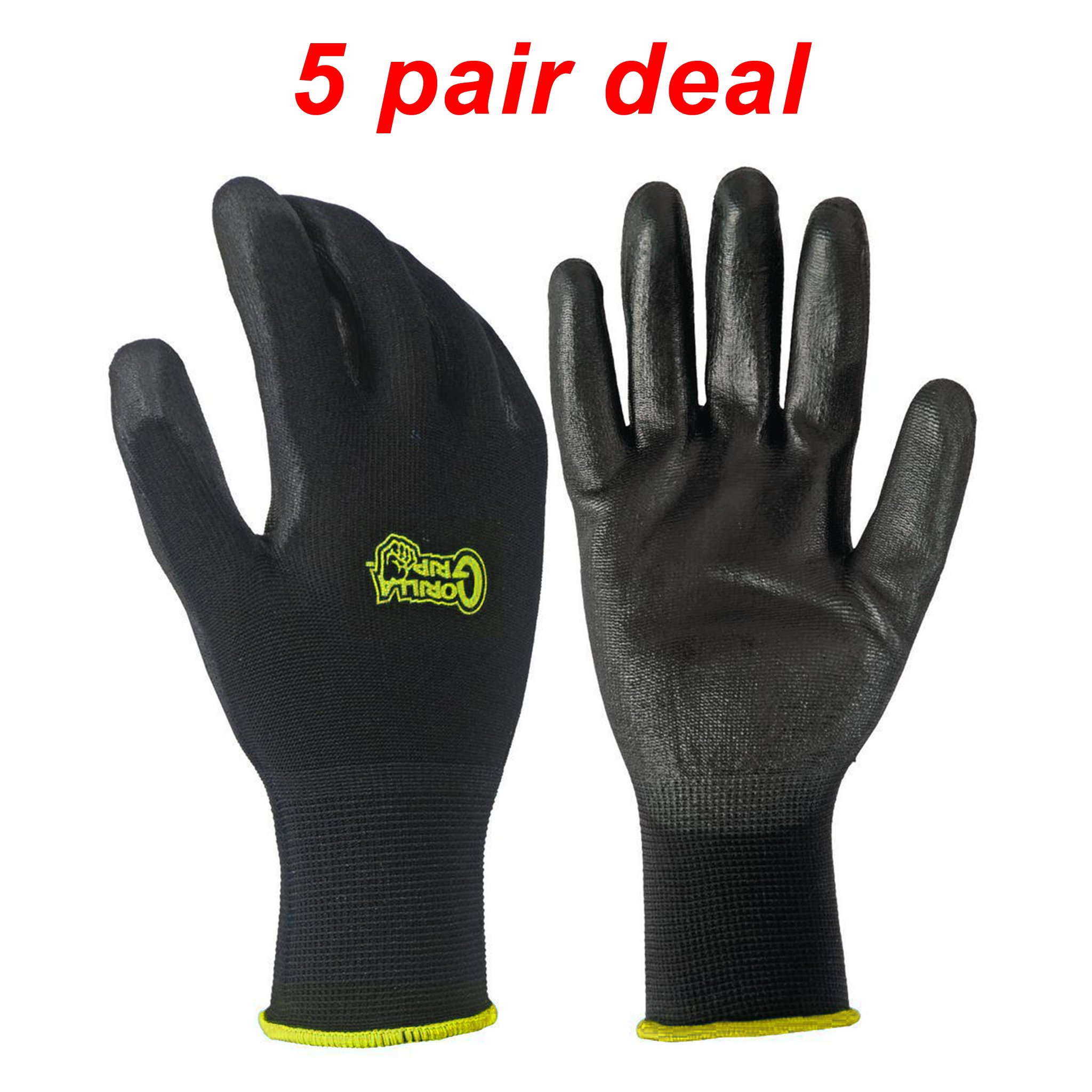 5 PACK Gorilla Grip Gloves - Medium by Grease Monkey Gorilla Grip (Image #1)