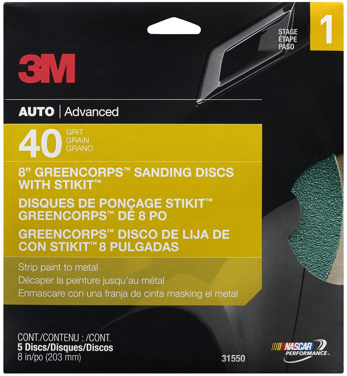 3M Green Corps Sanding Disc, 31550, 8 in, 40 grit