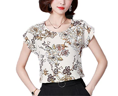 OUXIANGJU Women New Summer Print Chiffon Tops Short Sleeve Patterned Shirts Women Blusas Plus Size