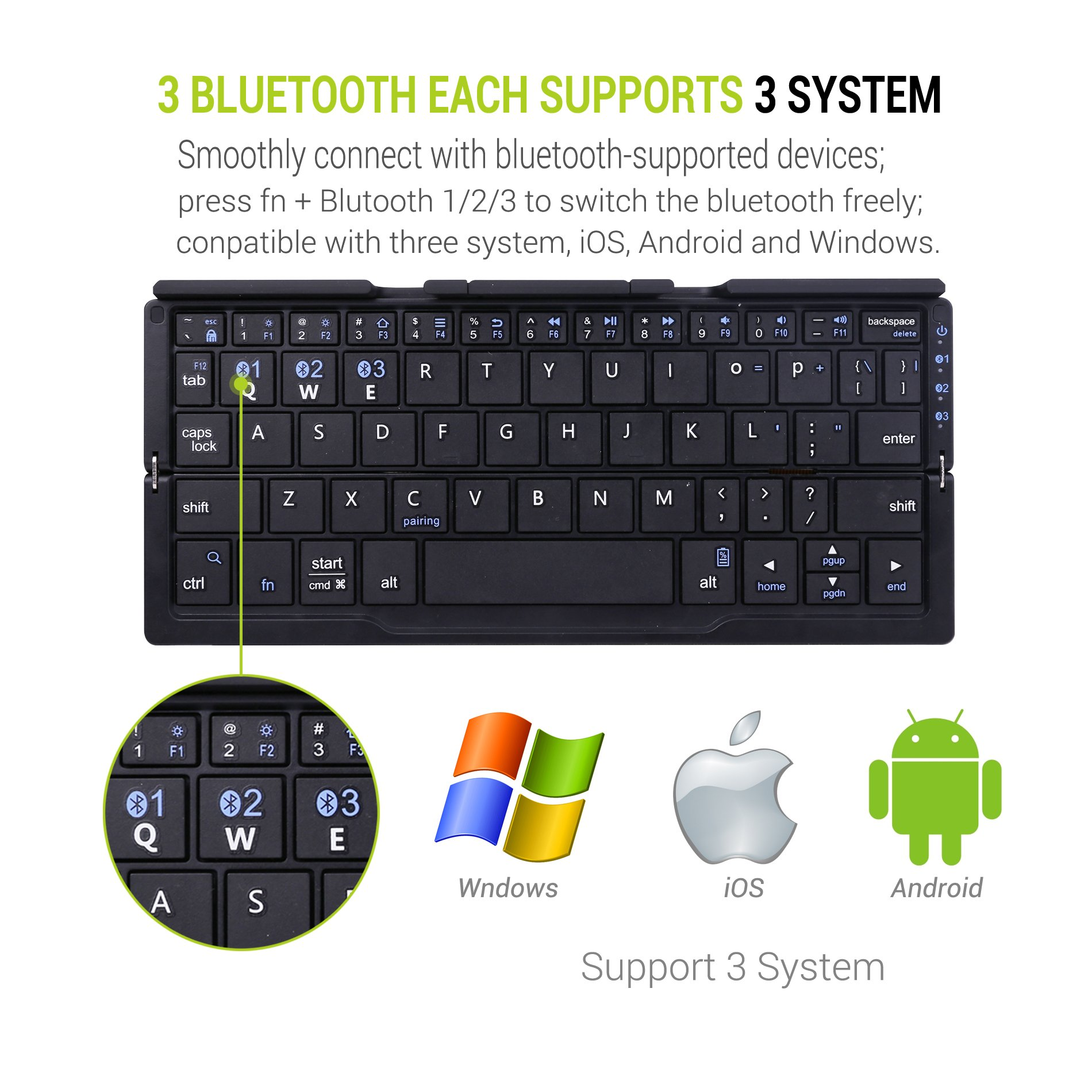 Zerolemon Mini Foldable Portable Bluetooth Keyboard, Wireless Bluetooth Keyboard with Retractable Stands, Rechargeable Battery for iOS, Android, Windows Tablet, Smartphone, iPad etc - Black by ZEROLEMON (Image #4)