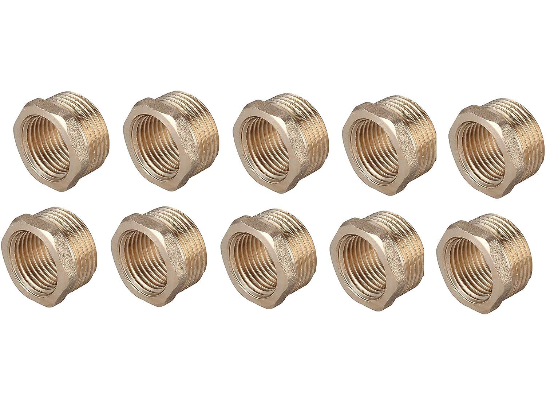 Confezione da 10 x bussole in ottone BSP riduzione riduttore connettore 1 maschio 3//4 femmina