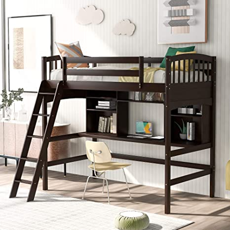 Amazon Com Merax Twin Loft Bed Solid Wood Twin Size Loft Bed With Shelves And Desk For Kids Teens Adults Espresso Kitchen Dining