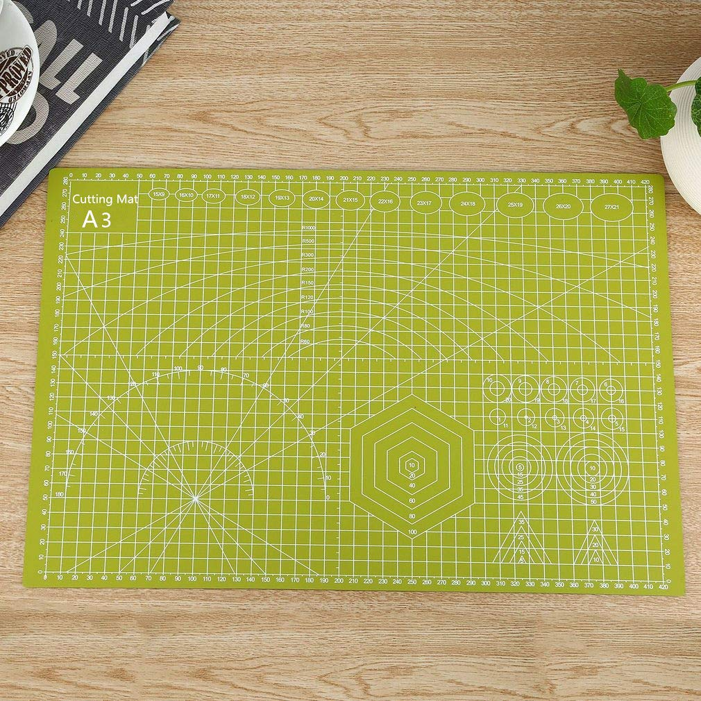 A3 Cutting Mat, Cherry 12x18 Self Healing Hobby Cutting Mat Double Sided, No Smell, Durable, Ideal for Crafts, Sewing, Quilting and All Arts & Crafts Project (Grass Green)