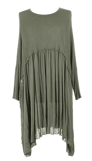 1a2b5eee97056 TEXTURE Ladies Womens Italian Lagenlook Long Sleeve Knit Viscose Swing  Flowy Tunic Dress One Size