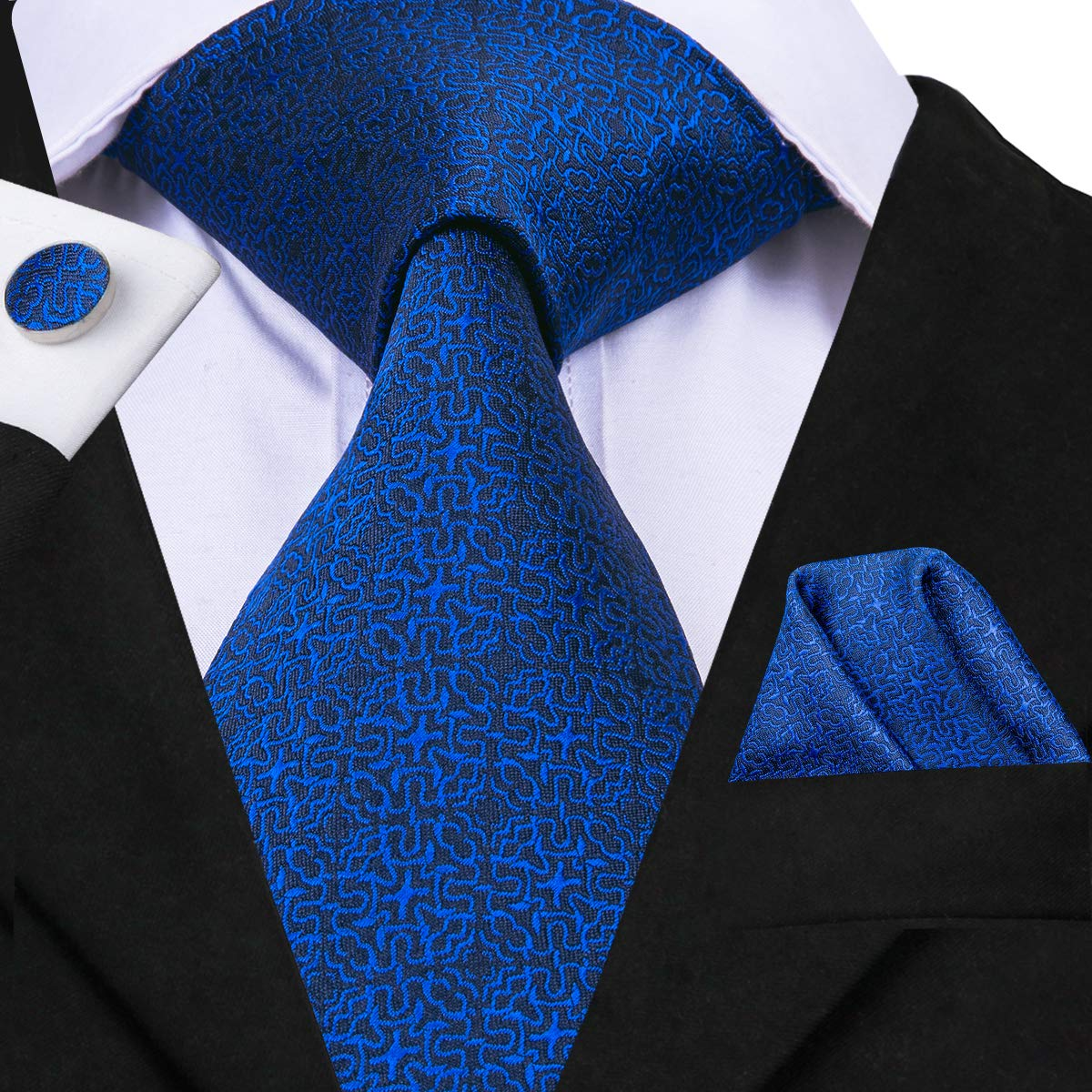 Hi-Tie Men Classic Blue Floral Solid Tie Necktie with Cufflinks and Pocket Square Tie Set