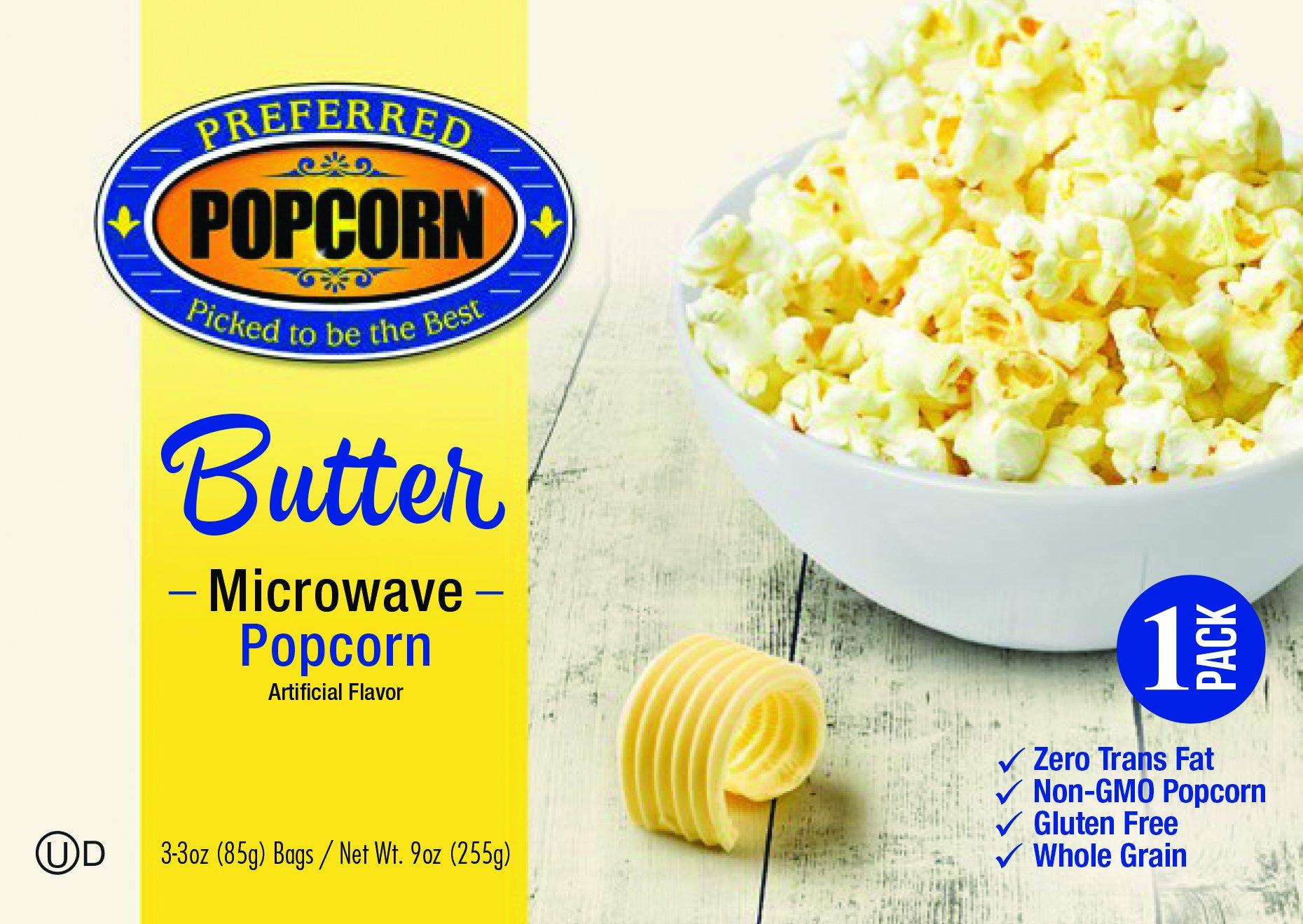 Microwave Butter Popcorn - Preferred Popcorn - One 3.0 oz Bag - 100% Farmer Owned - USA Made - Made in Nebraska - Popcorn Snack - Gluten Free - Whole Grain - Non GMO - Fresh Popcorn