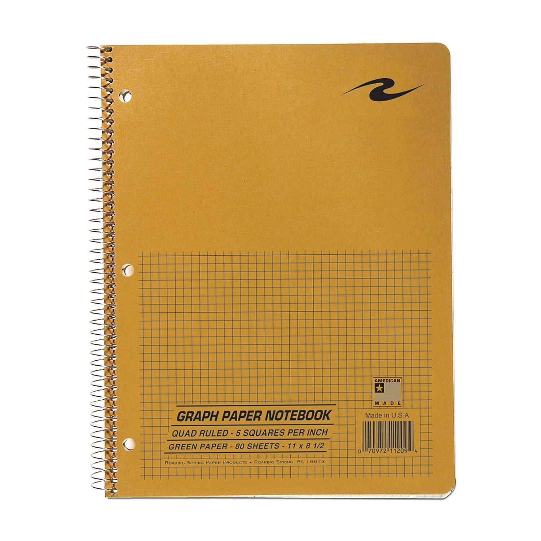 Roaring Spring Paper Products Graph ordinateur portable, un Sujet, 27,9x 21,6cm, 80feuilles, 12,7x 12,7cm Graph ligné, couvertures de couleurs assorties (11209) 9x 21 6cm 80feuilles 7x 12 7cm Graph ligné