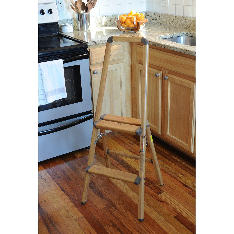 AmeriHome 700367 Lightweight Aluminum Step Ladder, 2 Step, Faux Wood Finish by AmeriHome (Image #1)