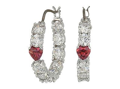 5e7474dbb Amazon.com: Swarovski Love Hoop Pierced Earrings, White, Rhodium ...