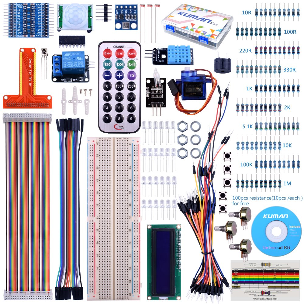 For Raspberry Pi 3 Kuman Starter Projects Kit With A Lcd Screen Modmypi Adjustable Breadboard Power Supply Remote Gpio Servo Motor Jump Wires Diy Temperature Humidity Sensor 180 Barometric