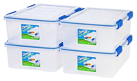 Lovely Ziploc WeatherShield 26.5 Quart Storage Box, 4 Pack, Clear