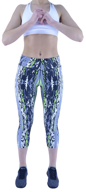 Womens Active Fitness Running Gym Exercise Yoga Pattern 3//4 Capri Leggings Sport Size 10, Multi Colour