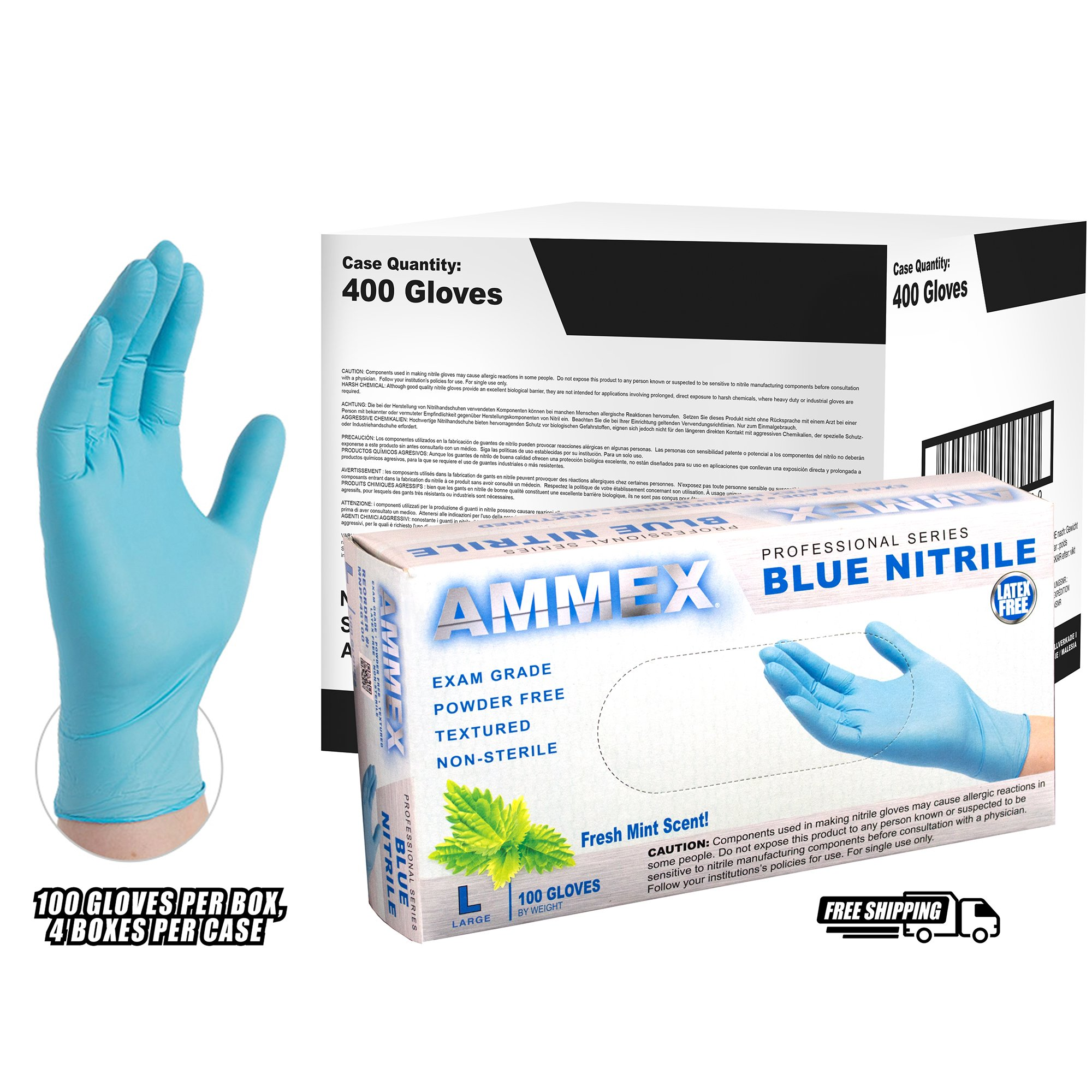 AMMEX - MNPF46100 - Nitrile Gloves - Medical Grade, Powder Free, Latex Rubber Free, Disposable, Non Sterile, 4 Mil, Mint Scented, Exam Gloves, Food Safe, Textured, Blue, Large(Case of 400)