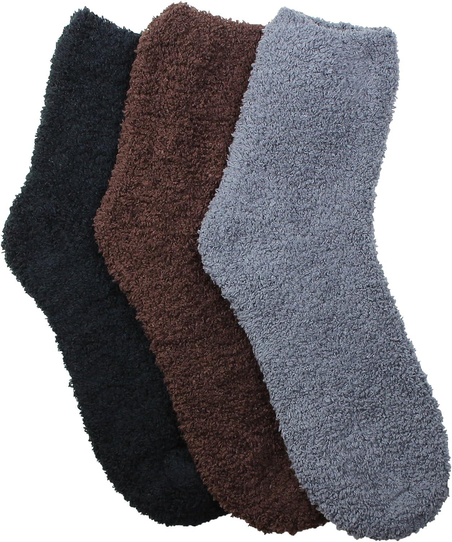 3 Pack – Men's Soft Winter Slipper Socks, Soft Hospital Lounge Crew Socks